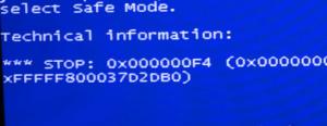 Ошибка Stop 0x000000F4